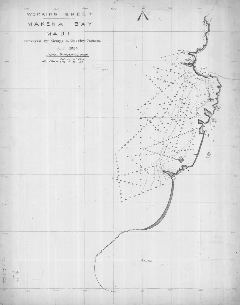 18 x 24 inch 1885 US old nautical map drawing chart of MAKENA BAY MAUI From  Hawaii Territory Survey x1196