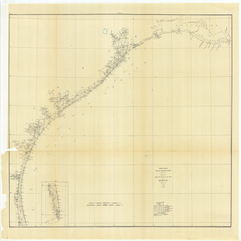 18 x 24 inch 1881 Texas old nautical map drawing chart of Sketch Showing the Progress of the Survey in Section #9 from 1848 to 1881 From  US Coast & Geodetic Survey x11734