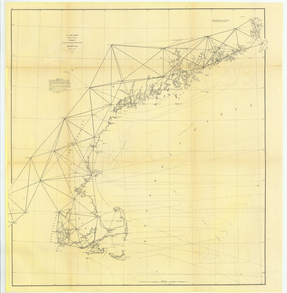 18 x 24 inch 1861 US old nautical map drawing chart of Sketch A Showing the Primary Triangulation in Section Number 1 from 1844 to 1861 From  U.S. Coast Survey x5855