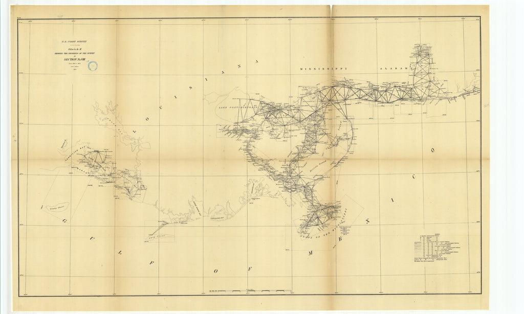 18 x 24 inch 1875 US old nautical map drawing chart of Sketch H Showing the Progress of the Survey in Section Number 8 from 1846 to 1875 From  U.S. Coast Survey x1138