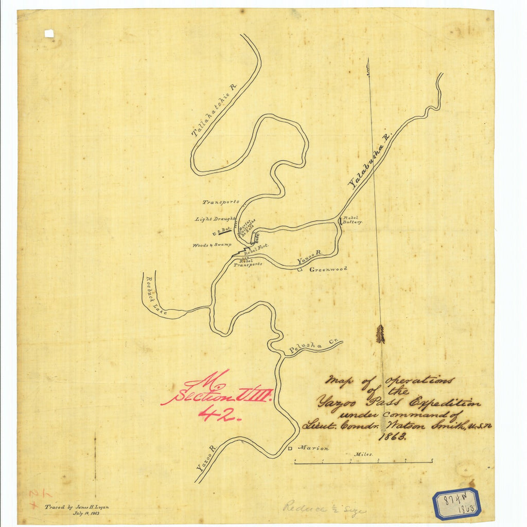 18 x 24 inch 1863 US old nautical map drawing chart of Map of Operations of the Yazoo Pass Expedition under Command of Lieutenant Commander Watson Smith United States Navy From  NOAA x5911
