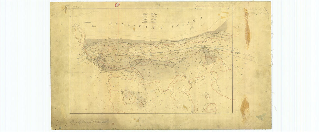 18 x 24 inch 1855 South Carolina old nautical map drawing chart of Comparative Map of Maffitt's Channel South Carolina From  NOAA x7541