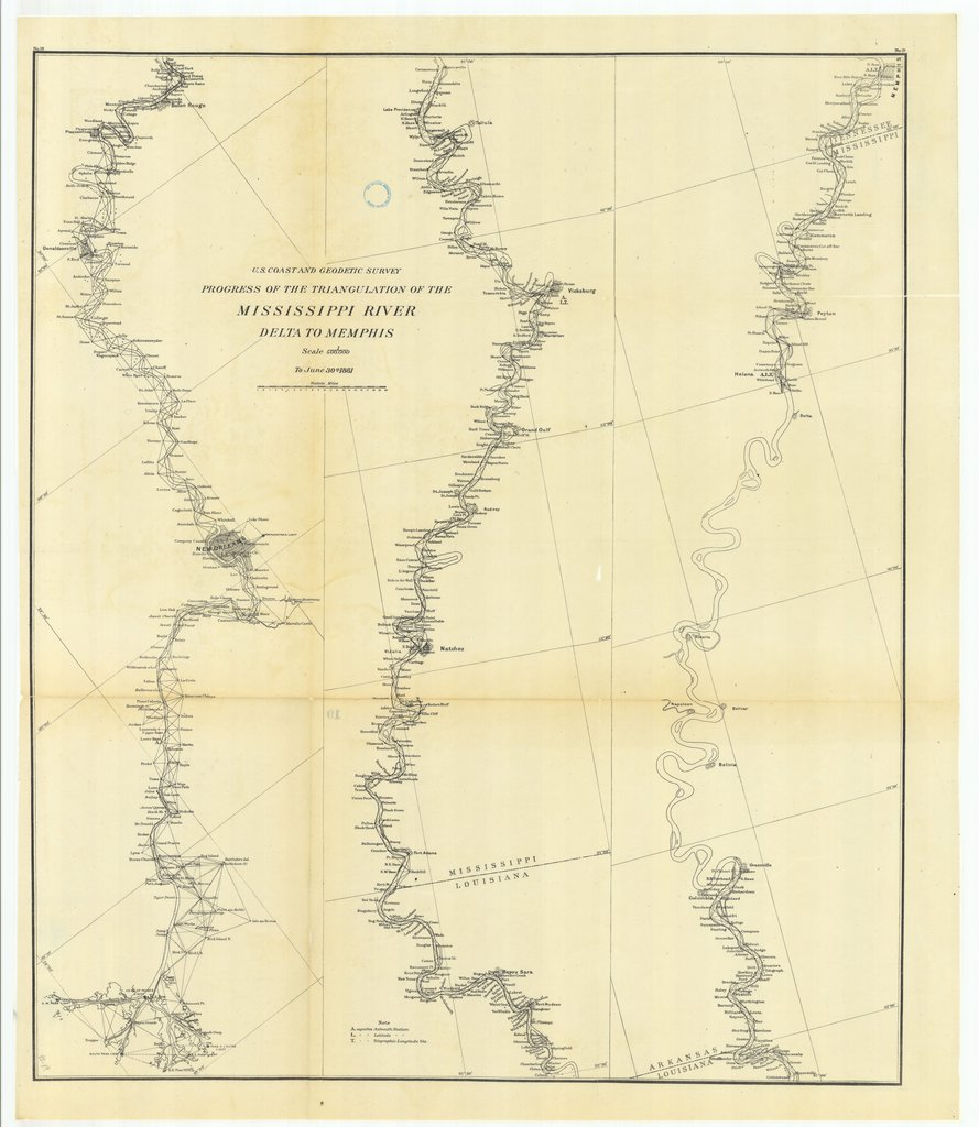 18 x 24 inch 1881 US old nautical map drawing chart of Progress of the Triangulation of the Mississippi River, Delta to Mississippi From  US Coast & Geodetic Survey x259