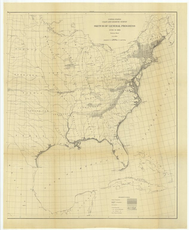 18 x 24 inch 1882 US old nautical map drawing chart of Sketch of General Progress, June 30, 1882, Eastern Sheet From  US Coast & Geodetic Survey x151