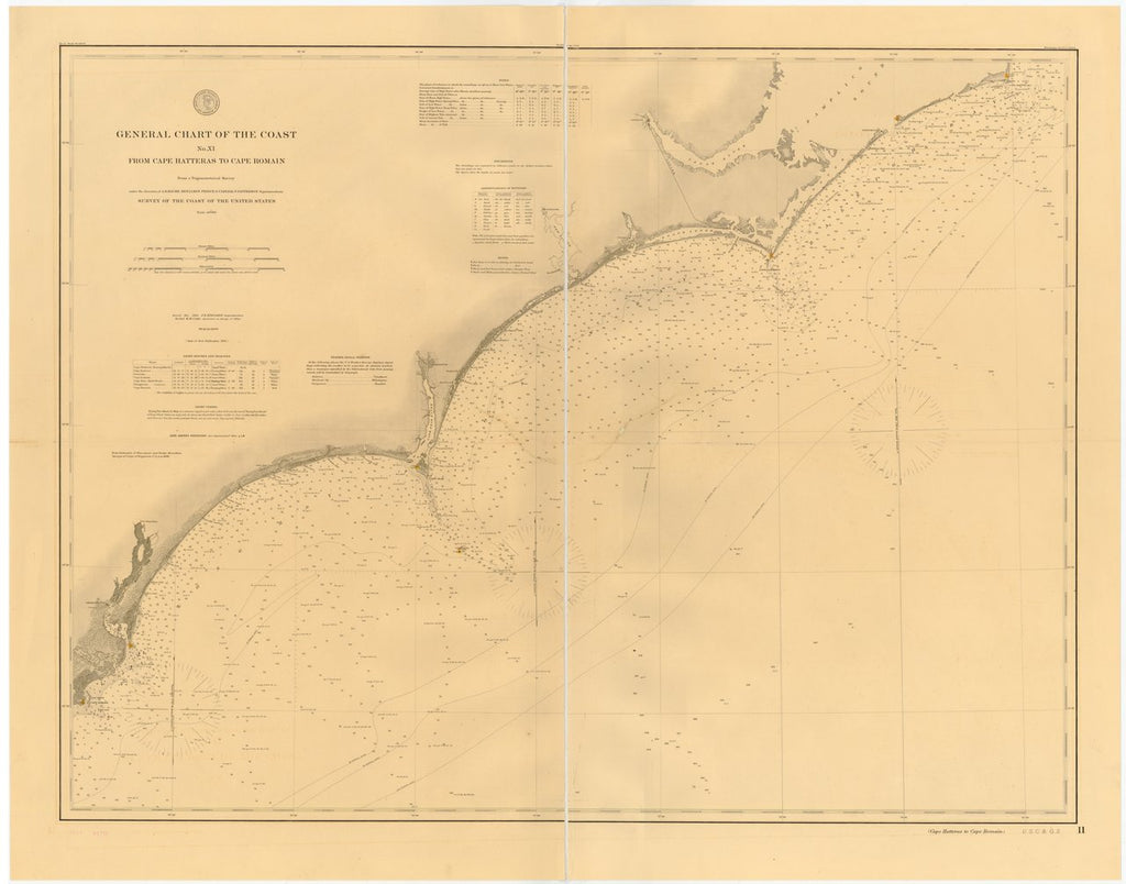 18 x 24 inch 1882 North Carolina old nautical map drawing chart of GENERAL CHART OF THE COAST NO. XI. FROM CAPE HATTERAS TO CAPE ROMAIN From  US Coast & Geodetic Survey x7215