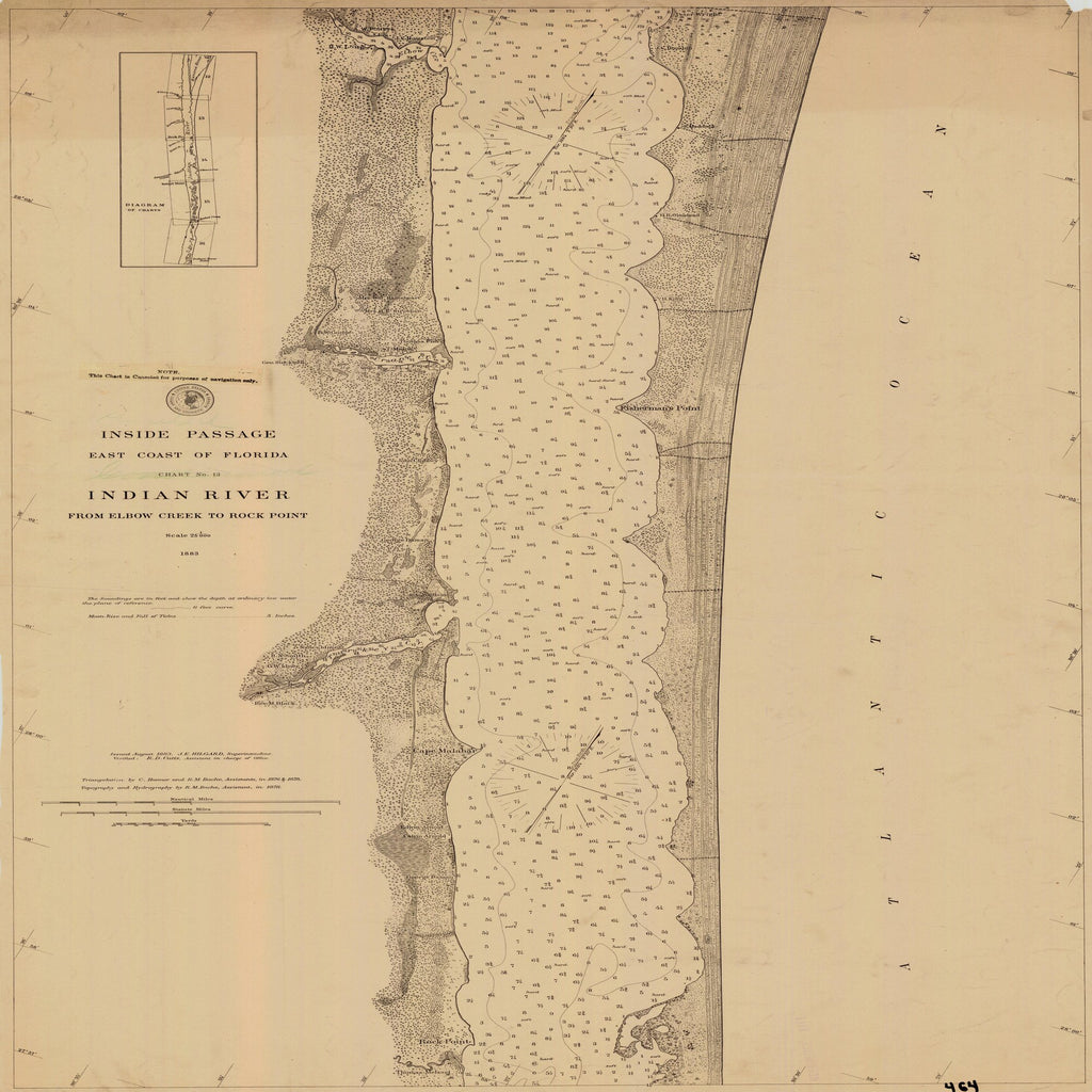 18 x 24 inch 1883 US old nautical map drawing chart of INDIAN RIVER CHART NO. 13 From  C&GS x1331