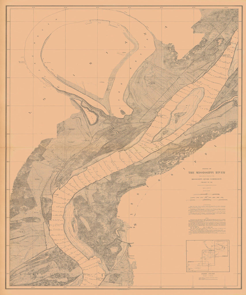 18 x 24 inch 1880 US old nautical map drawing chart of SURVEY OF THE MISSISSIPPI RIVER From  Mississippi River Commission x2385