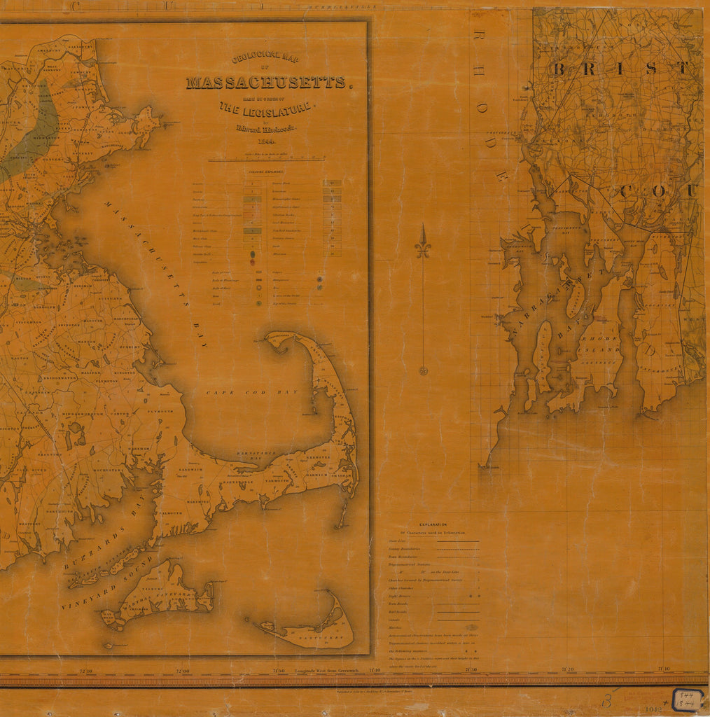 18 x 24 inch 1844 US old nautical map drawing chart of TOPOGRAPHICAL MAP OF MASSACHUSETTS SHEET NO. 3 From  NOAA x3946
