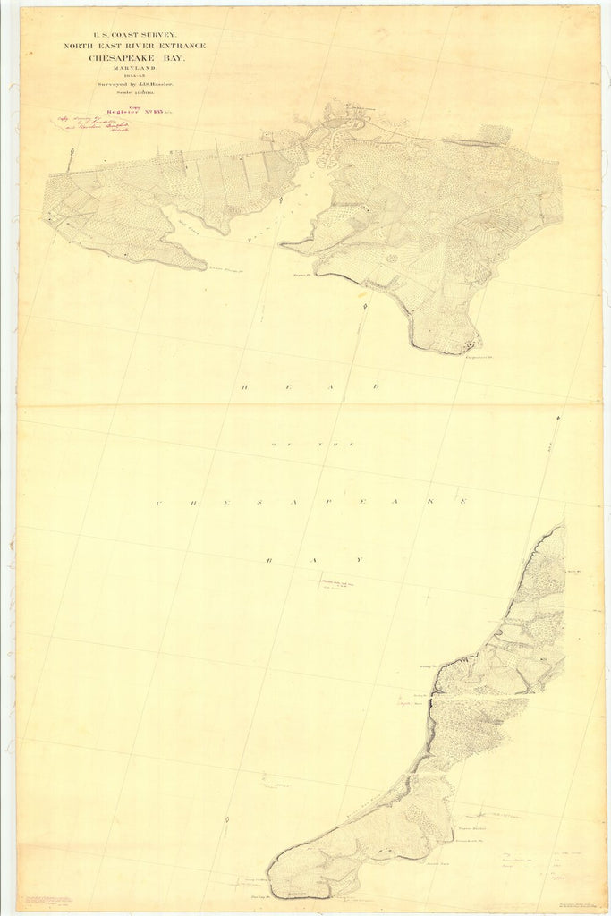 18 x 24 inch 1845 US old nautical map drawing chart of North East River Entrance Chesapeake Bay From  U.S. Coast Survey x2862