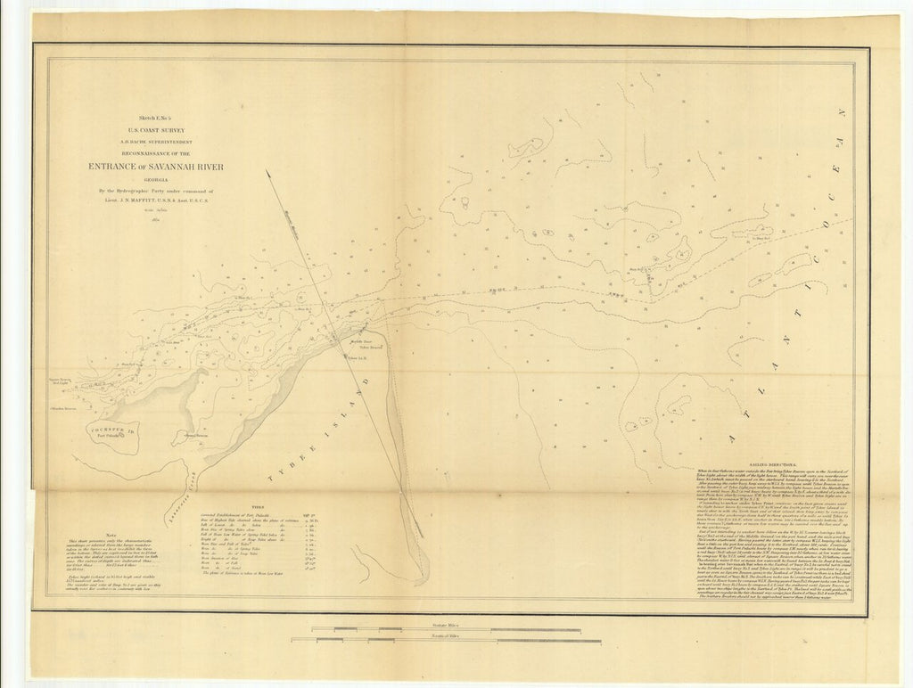 18 x 24 inch 1851 US old nautical map drawing chart of Reconnaissance of the Entrance of Savannah River, Georgia From  U.S. Coast Survey x310