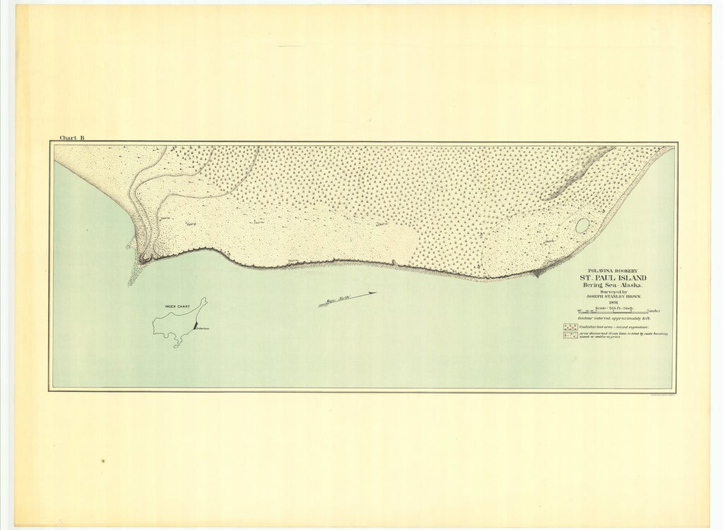 18 x 24 inch 1891 US old nautical map drawing chart of Polavina Rookery St. Paul Island Bering Sea - Alaska From  US Commission of Fish and Fisheries x25