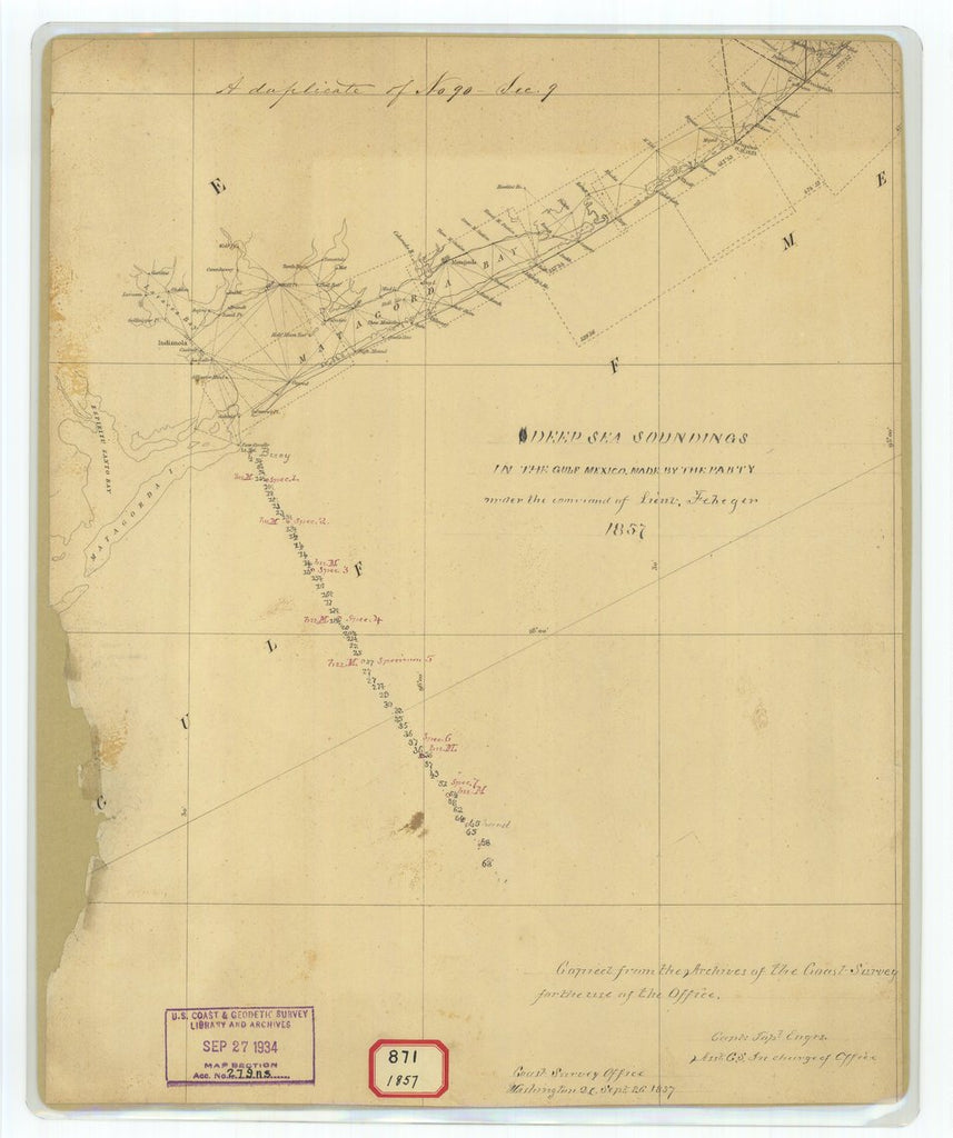 18 x 24 inch 1857 US old nautical map drawing chart of Deep Sea Soundings in the Gulf of Mexico Made by the Party Under the Command of Lieutenant Febeger From  U.S. Coast Survey x1488