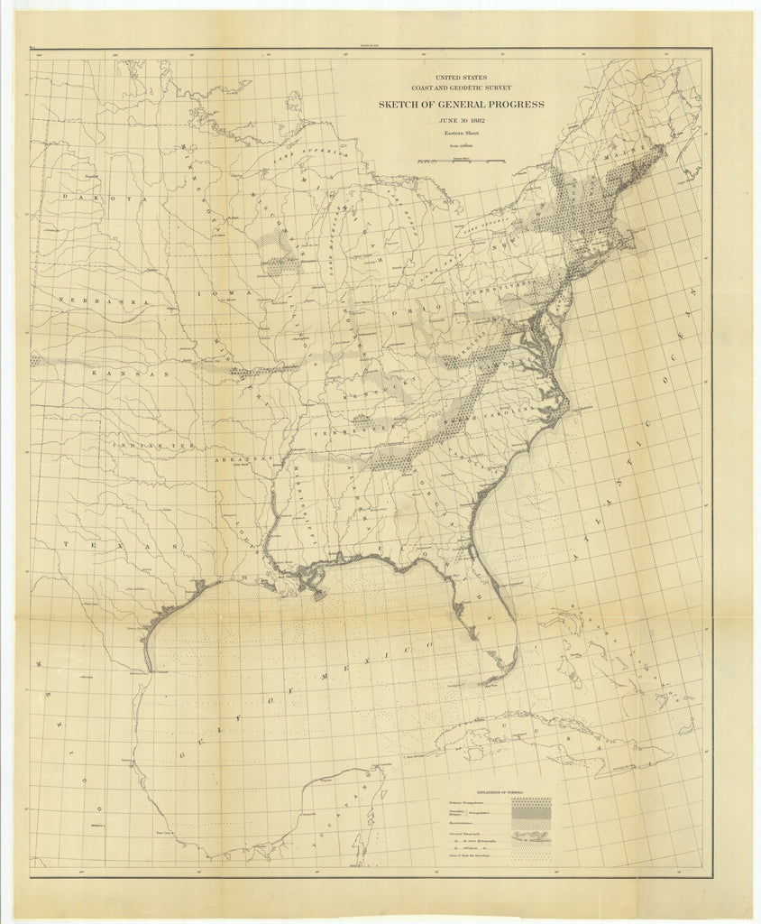 18 x 24 inch 1882 New Hampshire old nautical map drawing chart of Sketch of General Progress, June 30, 1882, Eastern Sheet From  US Coast & Geodetic Survey x7623