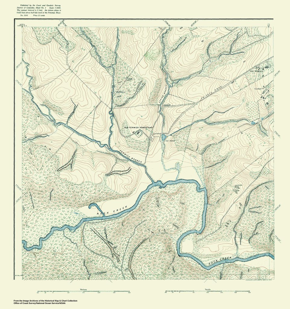 18 x 24 inch 1888 US old nautical map drawing chart of Topographic Map of Washington and Vicinity, Sheet 1 From  NOAA x406