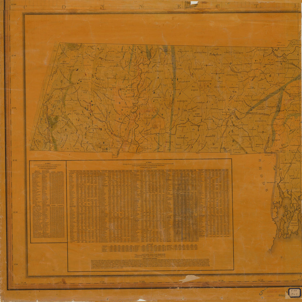 18 x 24 inch 1844 US old nautical map drawing chart of TOPOGRAPHICAL MAP OF MASSACHUSETTS SHEET NO. 5 From  NOAA x3918