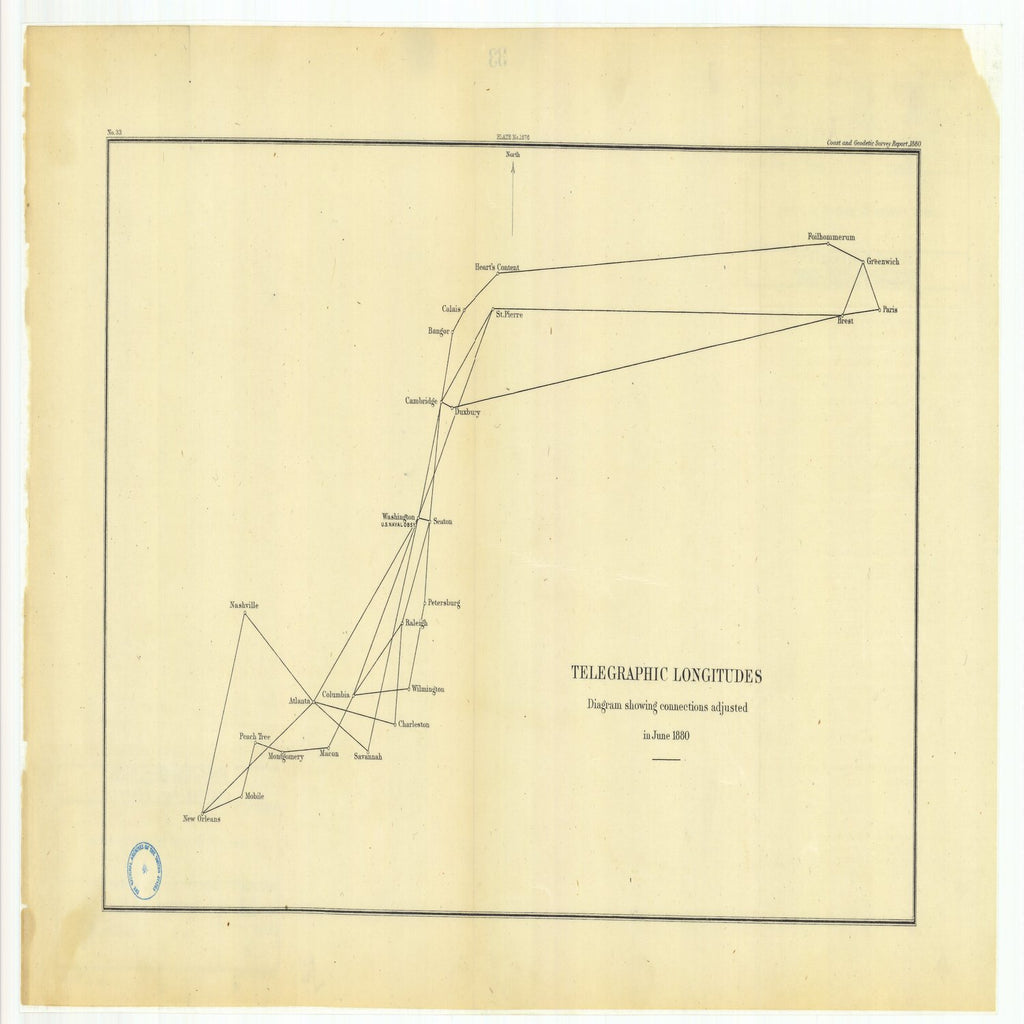 18 x 24 inch 1880 Mississippi old nautical map drawing chart of Telegraphic Longitudes Diagram Showing Connections Adjusted in June 1880 From  US Coast & Geodetic Survey x6483