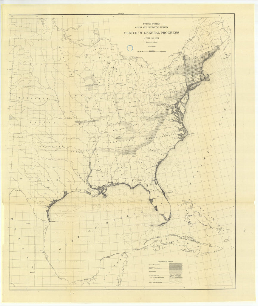 18 x 24 inch 1881 US old nautical map drawing chart of Sketch of General Progress, June 30, 1881, Eastern Sheet From  US Coast & Geodetic Survey x1040