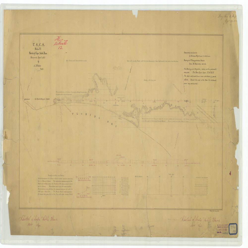18 x 24 inch 1855 US old nautical map drawing chart of Sketch of Cape Sable Base From  U.S. Coast Survey x748