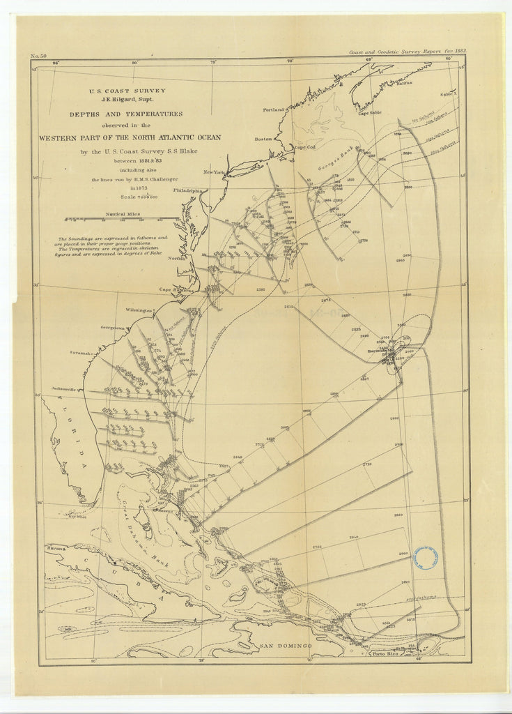 18 x 24 inch 1883 US old nautical map drawing chart of Depths and Temperatures Observed in the Western Part of the North Atlantic Ocean From  U.S. Coast Survey x1048