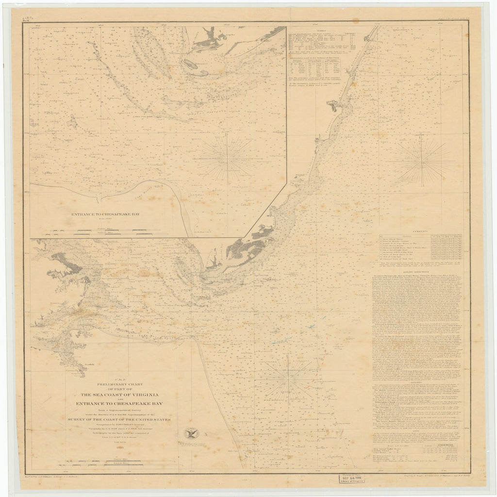 18 x 24 inch 1855 US old nautical map drawing chart of THE SEA COAST OF VIRGINIA AND ENTRANCE TO CHESAPEAKE BAY From  US Coast & Geodetic Survey x4489
