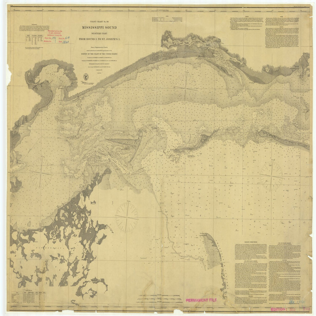 18 x 24 inch 1860 US old nautical map drawing chart of Mississippi Sound Western Part From Round I. to St. Joseph's I. From  U.S. Coast Survey x5908