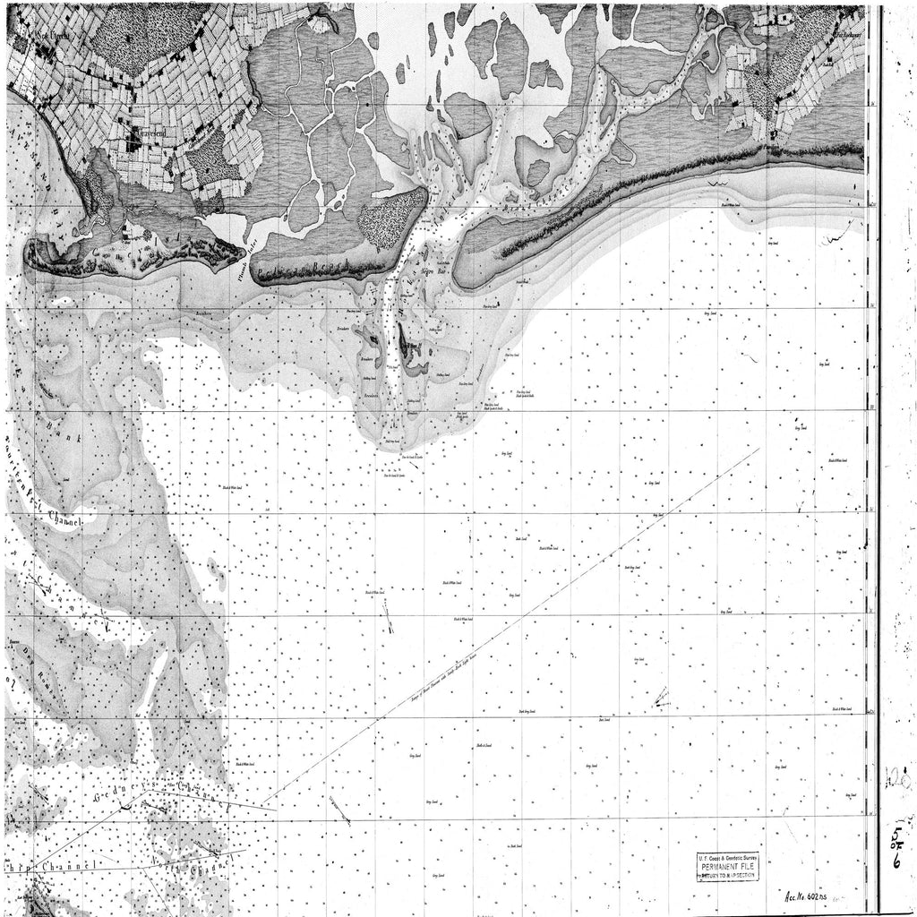 18 x 24 inch 1844 US old nautical map drawing chart of NEW YORK BAY AND HARBOR AND THE ENVIRONS From  US Coast & Geodetic Survey x6108