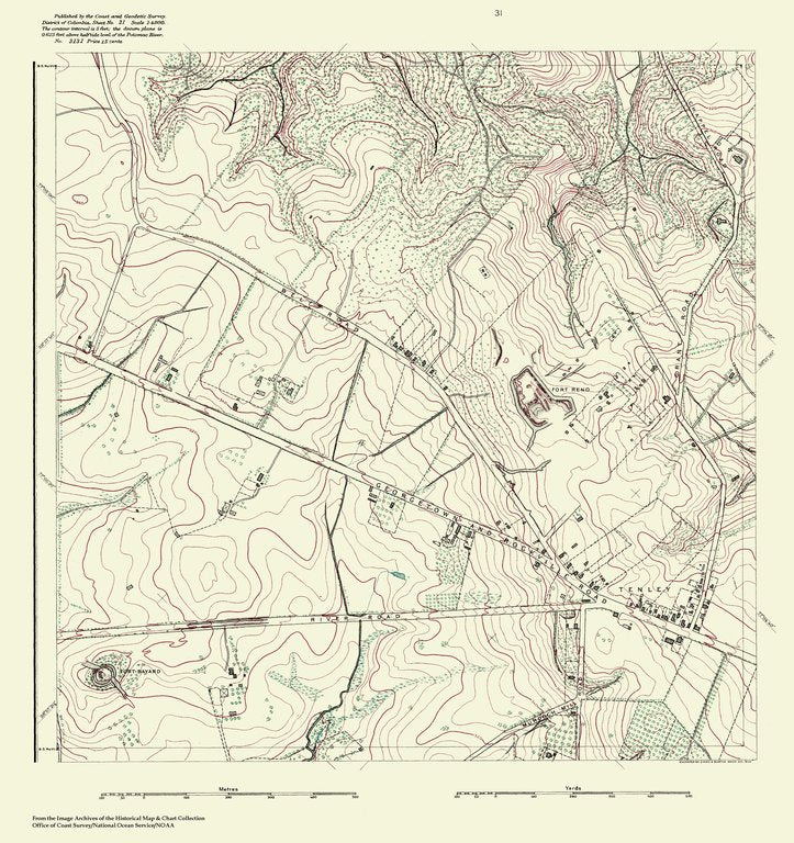 18 x 24 inch 1888 US old nautical map drawing chart of Topographic Map of Washington and Vicinity, Sheet 31 From  NOAA x386
