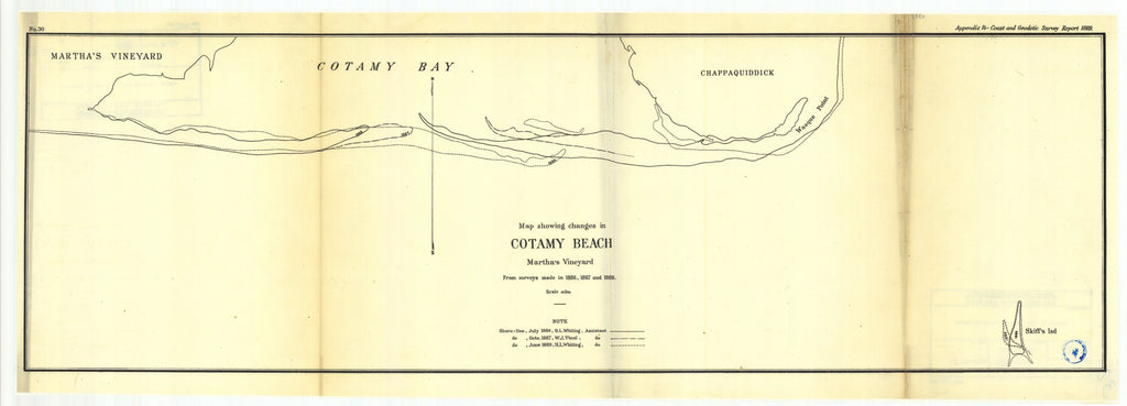 18 x 24 inch 1889 US old nautical map drawing chart of Map showing changes in Cotamy Beach Martha's Vineyard From  US Coast & Geodetic Survey x2238
