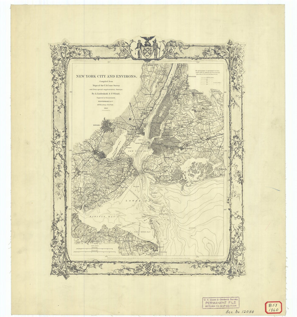 18 x 24 inch 1860 New York old nautical map drawing chart of New York City and Environs From  U.S. Coast Survey x7660
