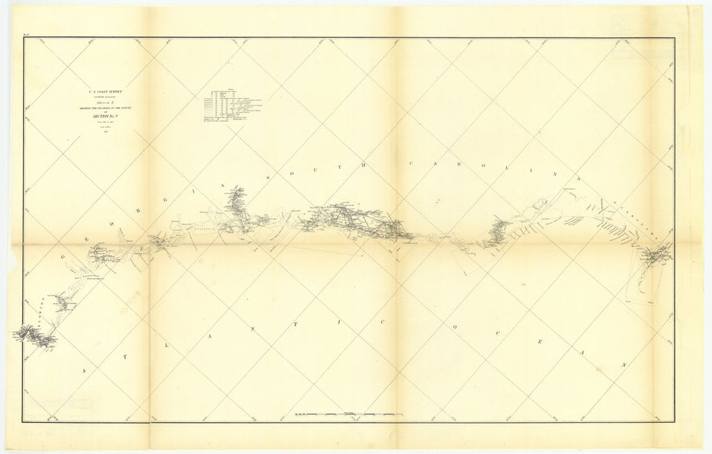 18 x 24 inch 1856 US old nautical map drawing chart of Sketch E Showing the Progress of the Survey in Section Number 5 from 1847 to 1856 From  U.S. Coast Survey x946