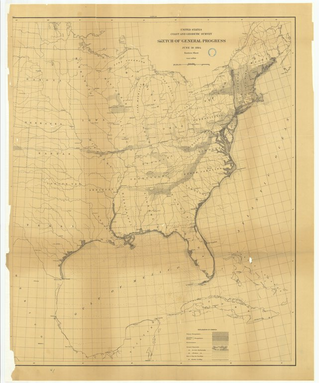 18 x 24 inch 1884 US old nautical map drawing chart of Sketch of General Progress, June 30, 1884, Eastern Sheet From  US Coast & Geodetic Survey x155