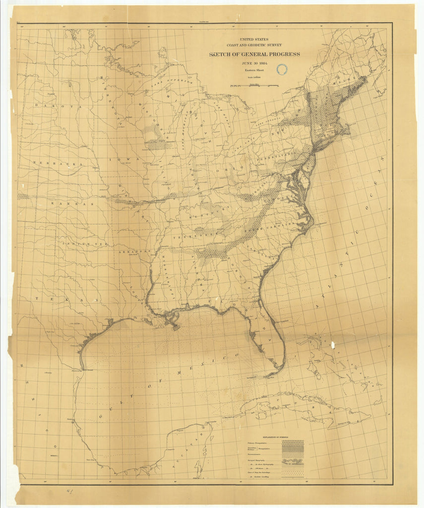 18 x 24 inch 1884 North Dakota old nautical map drawing chart of Sketch of General Progress, June 30, 1884, Eastern Sheet From  US Coast & Geodetic Survey x6605