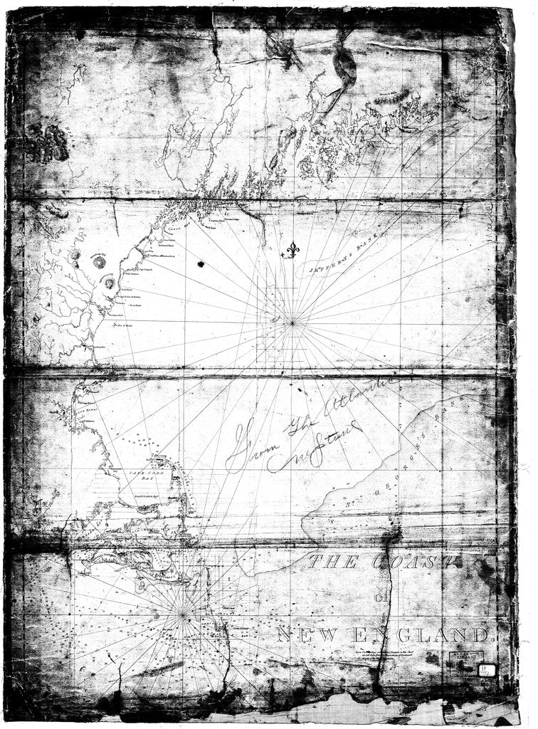18 x 24 inch 1775 Maine old nautical map drawing chart of The Coast of New England From  NOAA x12219