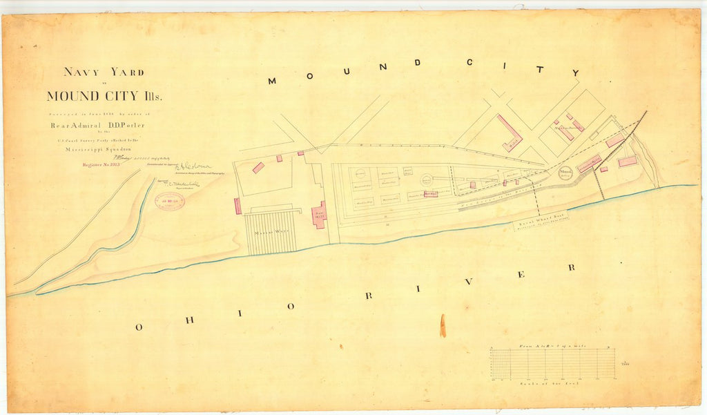 18 x 24 inch 1864 US old nautical map drawing chart of Navey Yard in Mound City IL From  U.S. Coast Survey x1516