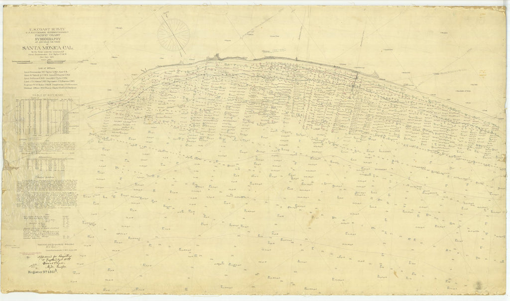 18 x 24 inch 1875 US old nautical map drawing chart of Hydrography at and Near the Town of Santa Monica CA From  U.S. Coast Survey x2407