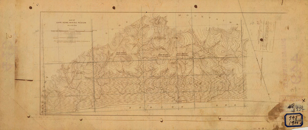 18 x 24 inch 1900 US old nautical map drawing chart of CAPE NOME MINING REGION From  US Geological Survey x2597