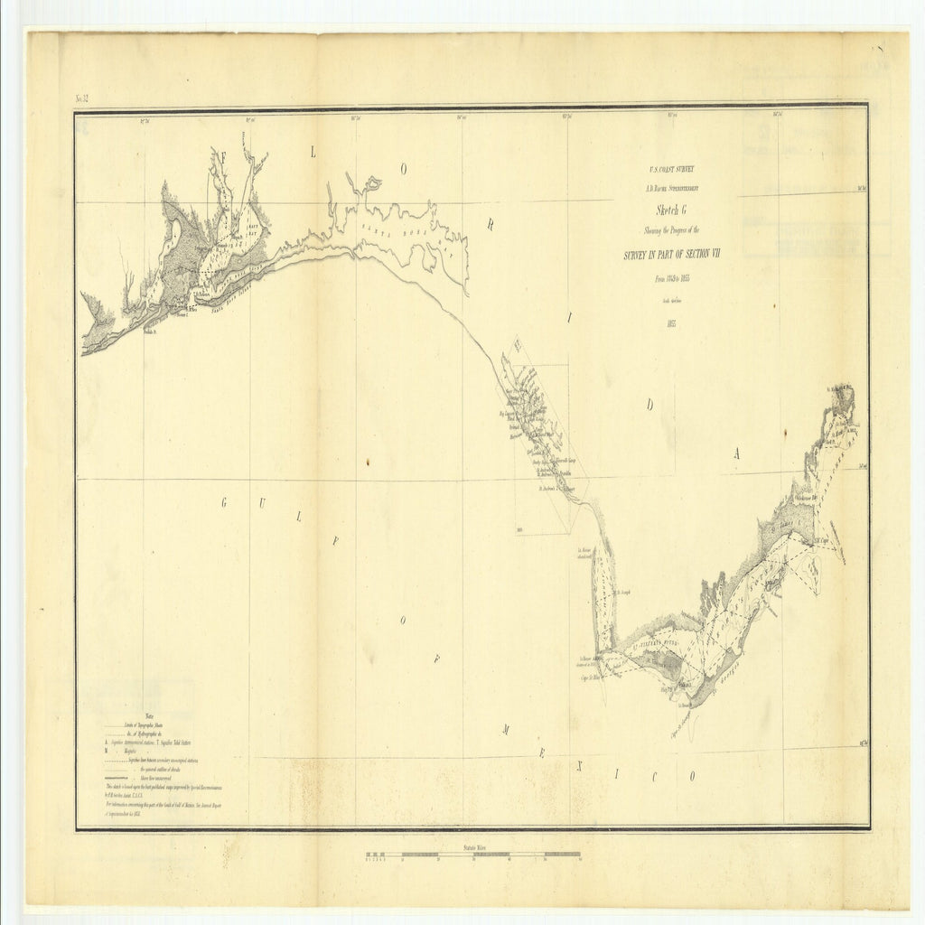 18 x 24 inch 1855 US old nautical map drawing chart of Sketch G Showing the Progress of the Survey in Part of Section 7 from 1849 to 1855 From  U.S. Coast Survey x3192