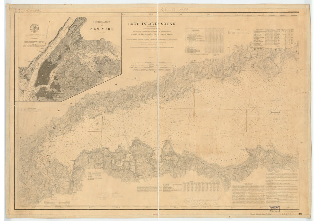 18 x 24 inch 1890 New York old nautical map drawing chart of LONG ISLAND SOUND. (WESTERN SHEET) From  US Coast & Geodetic Survey x7635