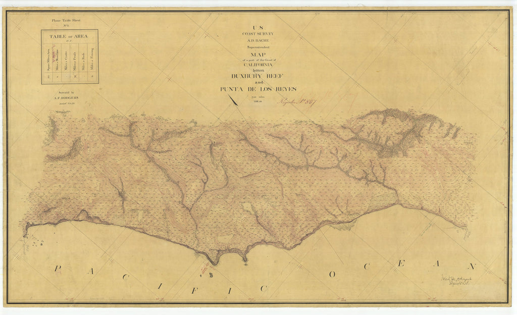 18 x 24 inch 1860 US old nautical map drawing chart of California between Duxbury Reef and Punta De Los Reyes From  U.S. Coast Survey x1684