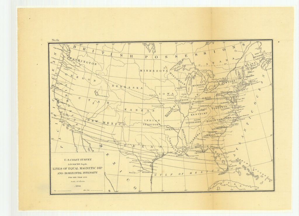 18 x 24 inch 1856 Ohio old nautical map drawing chart of Lines of Equal Magnetic Dip and Horizontal Intensity for the Year 1850 From  U.S. Coast Survey x6807