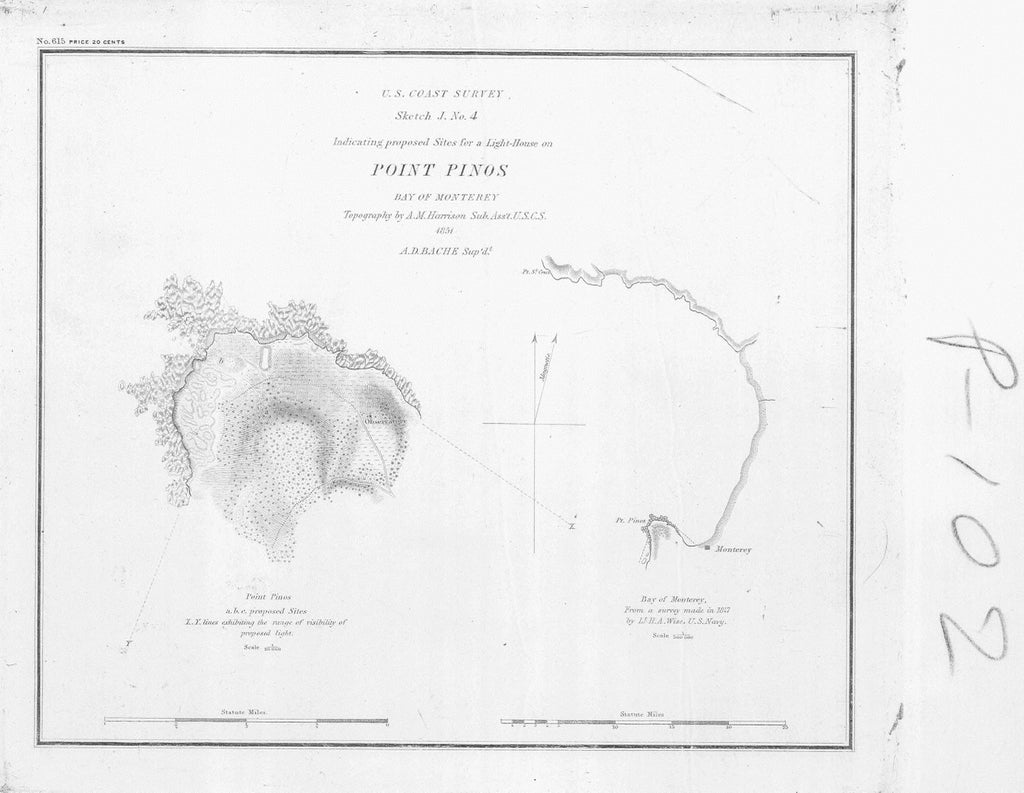18 x 24 inch 1851 US old nautical map drawing chart of POINT PINOS BAY OF MONTEREY From  U.S. Coast Survey x4233