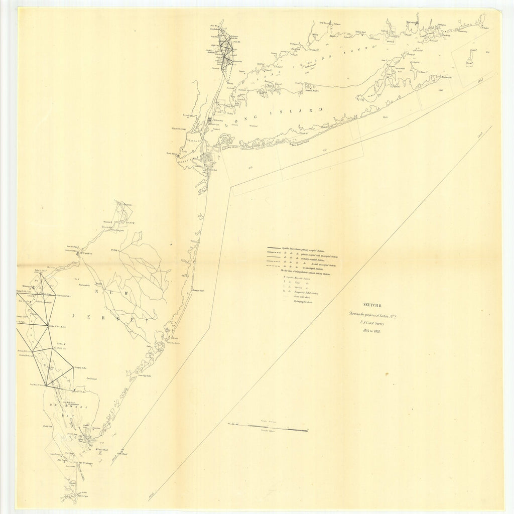 18 x 24 inch 1851 New Jersey old nautical map drawing chart of Sketch B Showing the Progress of Section Number 2 From  U.S. Coast Survey x7420