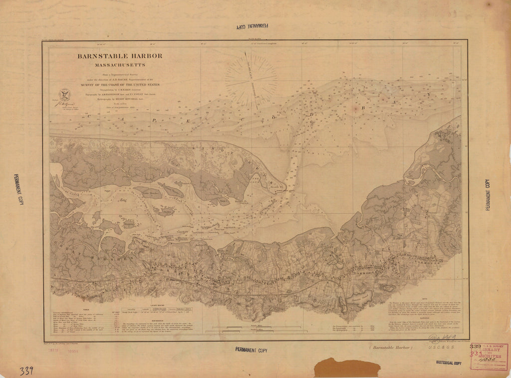 1889 Us Barnstable Harbor From Us Coast Geodetic Survey X2756 - Us-coast-and-geodetic-survey-maps