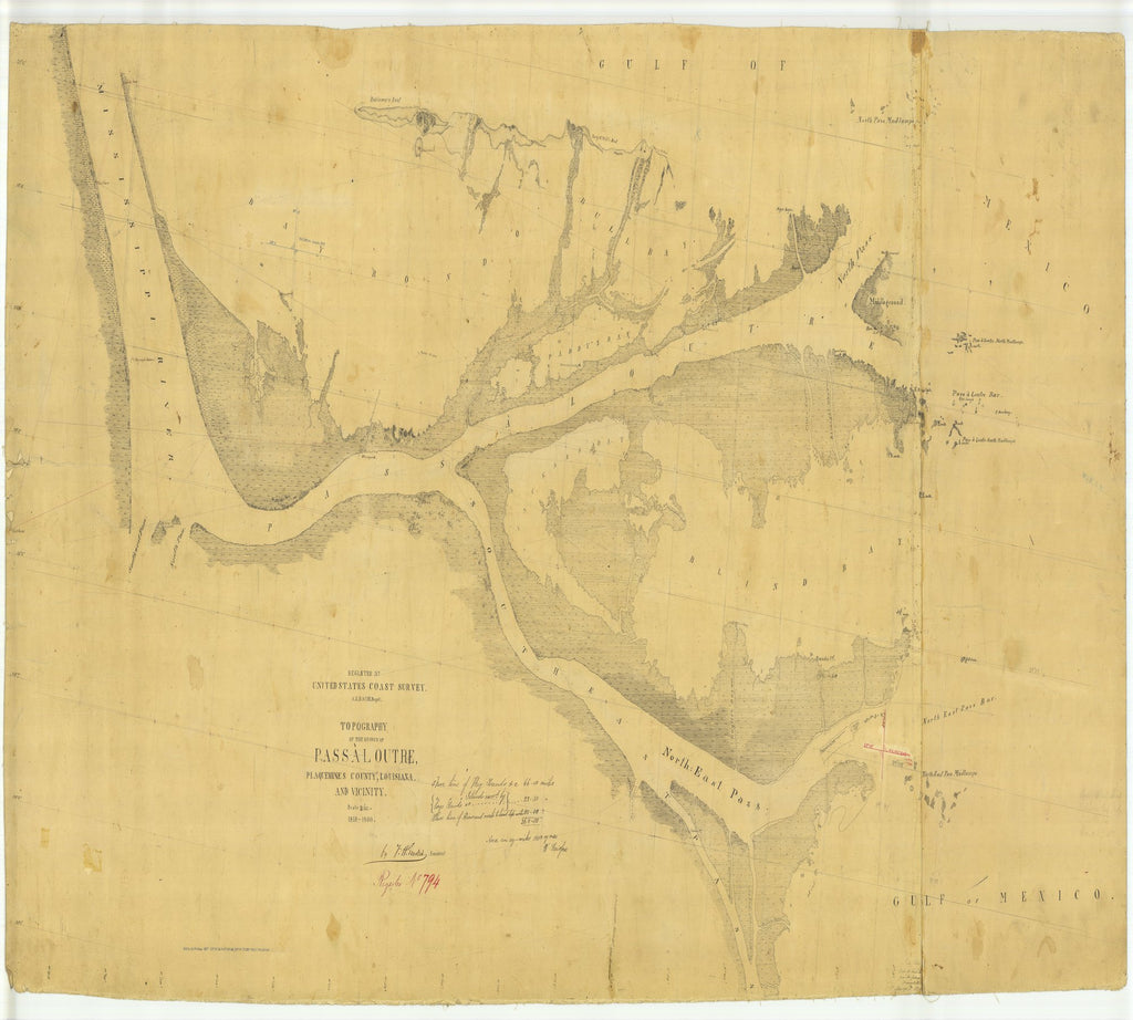 18 x 24 inch 1859 US old nautical map drawing chart of Pass A Loutre, Plaquemines County From  U.S. Coast Survey x2019