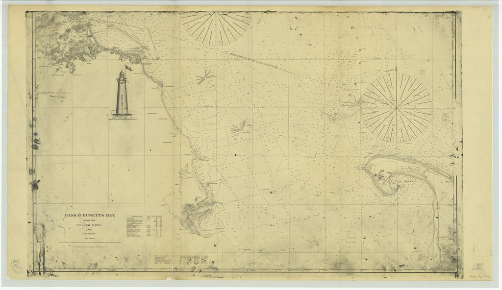 18 x 24 inch 1861 US old nautical map drawing chart of Massachusetts Bay From  U.S. Coast Survey x3474
