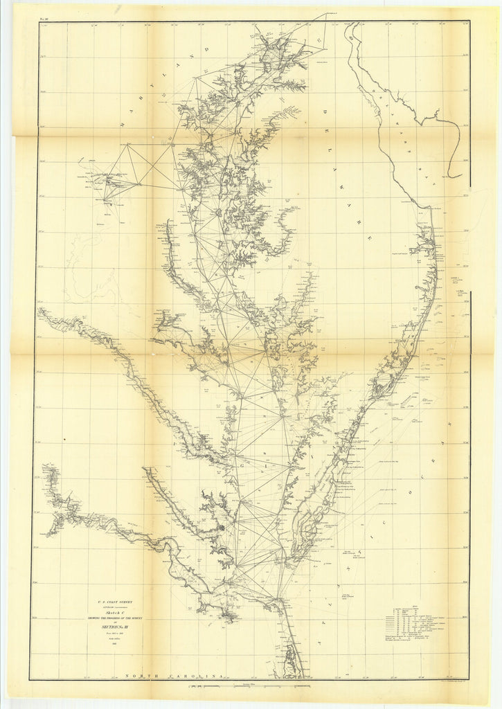 18 x 24 inch 1861 North Carolina old nautical map drawing chart of Sketch C Showing the Progress of the Survey in Section Number 3 from 1843 to 1861 From  U.S. Coast Survey x7182
