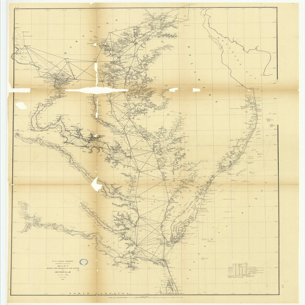 18 x 24 inch 1868 US old nautical map drawing chart of Sketch C Showing the Progress of the Survey in Section Number 3 from 1843 to 1868 From  U.S. Coast Survey x1917