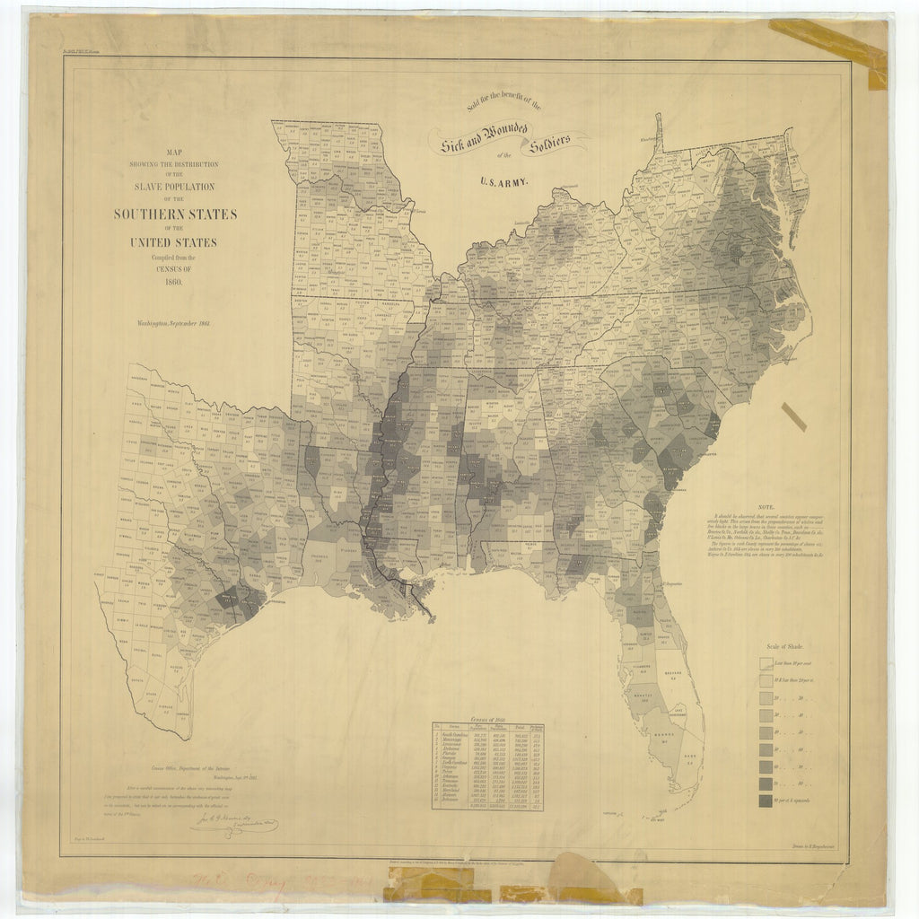 18 x 24 inch 1861 US old nautical map drawing chart of Map Showing the Distribution of the Slave Population of the Southern States of the United States From  U.S. Coast Survey x5651