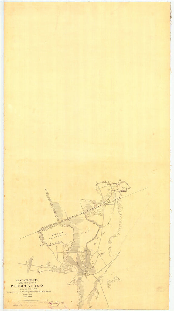 18 x 24 inch 1865 South Carolina old nautical map drawing chart of Pocotaligo SC From  U.S. Coast Survey x7567