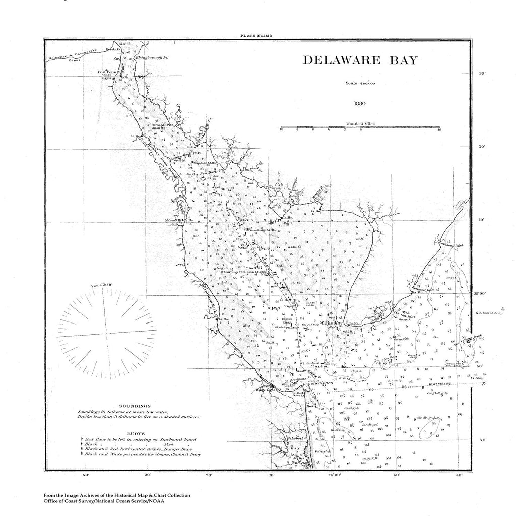 18 x 24 inch 1880 US old nautical map drawing chart of Navigation Chart of Delaware Bay From  U.S. Coast Survey x1933